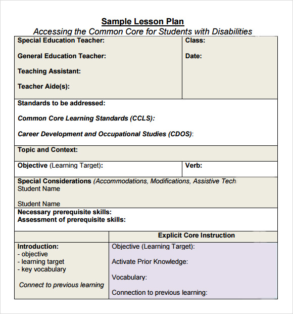 Sammple Common Core Lesson Plan Example Format - Lesson plan template example