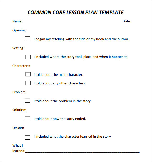 Common Core Lesson Plan Template Download Documents In PDF - Common core lesson plan templates
