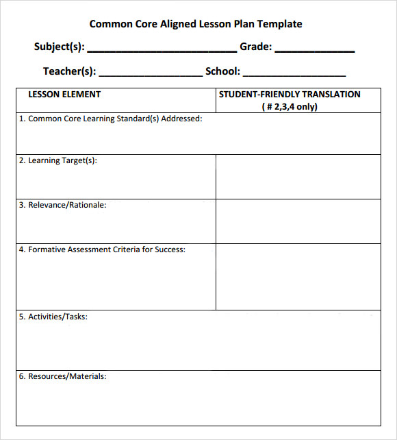 Common Core Lesson Plan Template Lisamaurodesign