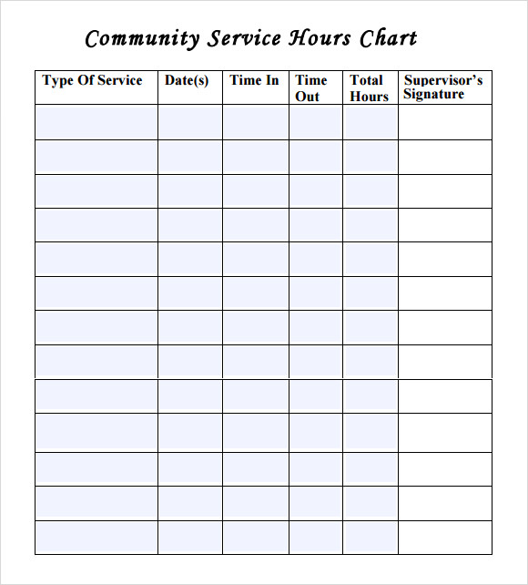community service hours chart volunteer hours form template - Ukran.soochi.co