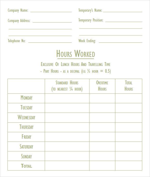 company blank timesheet form