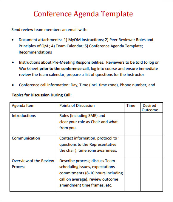 Sample Agenda 6 Documents in Word PDF – Conference Agenda Sample