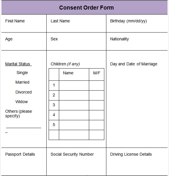Consent Order Form Consent Variation Order  Order Forms In Pdf