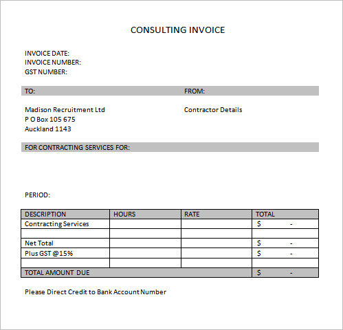 services invoice template