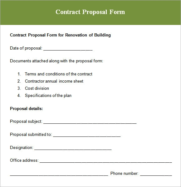 Proposal for contract