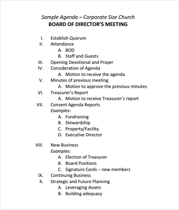 Sample Board Meeting Agenda Template 11 Free Documents in PDF Word – Samples of Agendas for Meetings