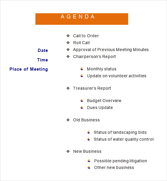 Sample agenda 6 documents in word pdf creative agenda template pronofoot35fo Images
