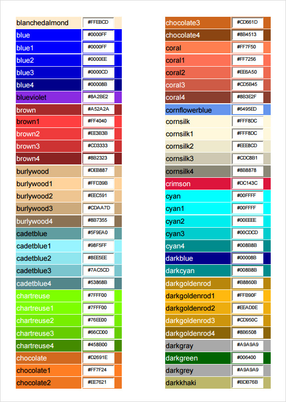 Sample Html Color Code Chart   Documents In Pdf