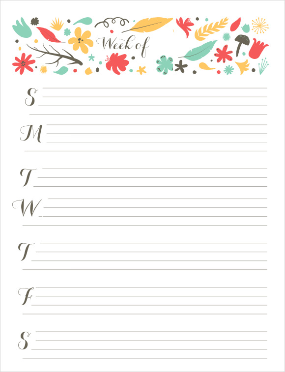Cute Weekly Calendar Printable : Sample weekly calendars templates