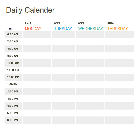 week calendar template excel