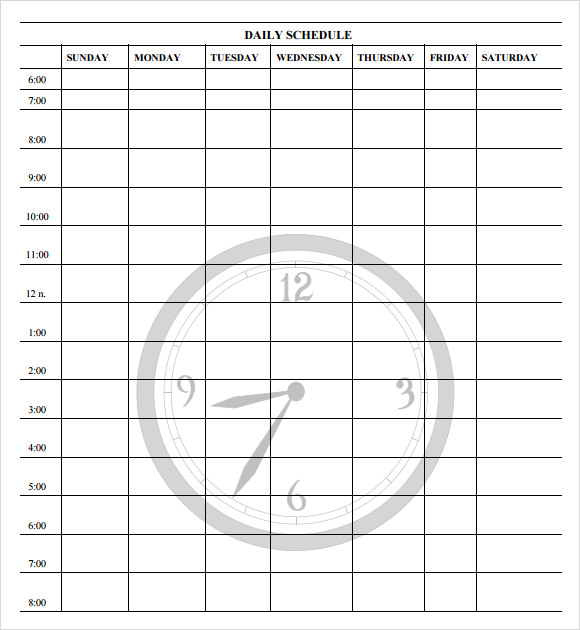 daily schedule template 12 schedule samples sample templates 21299