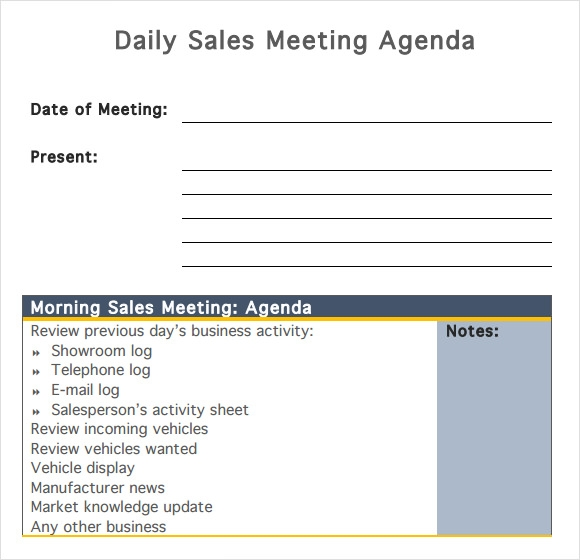 Daily Sales Meeting Agenda  Business Itinerary Template With Meetings