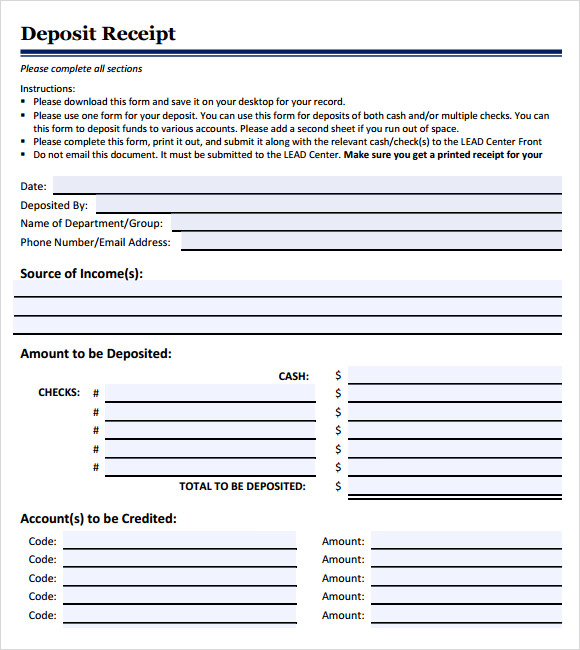 Deposit Form Template Deposit Receipt Form