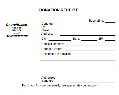 sample donation receipt template