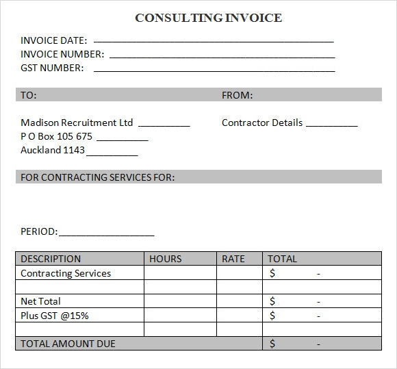 Sample Consulting Invoice   Documents In Word Pdf