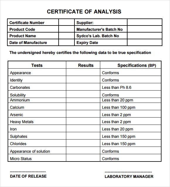 Certificate of Analysis Template   7  Free Download for PDF Sample BnJuVTqh