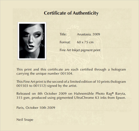 certificate of authenticity Authenticity certificate tips create the certificate of authenticity in a word processing program depending on the software, there may be a template available, with or without a border print it using fine quality printing paper look for certificates of authenticity at office supply stores some may have packages, even containing software for creating the document.