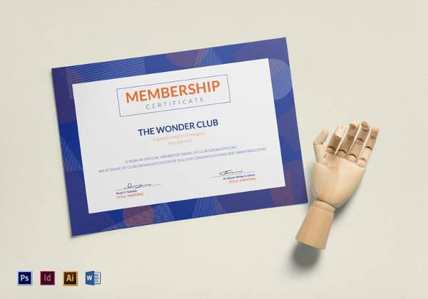 easy to edit club membership certificate template