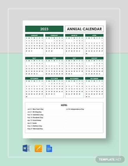 editable annual calendar template