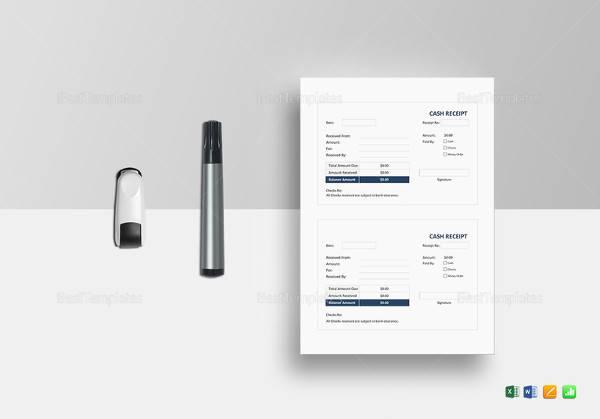 editable cash receipt template