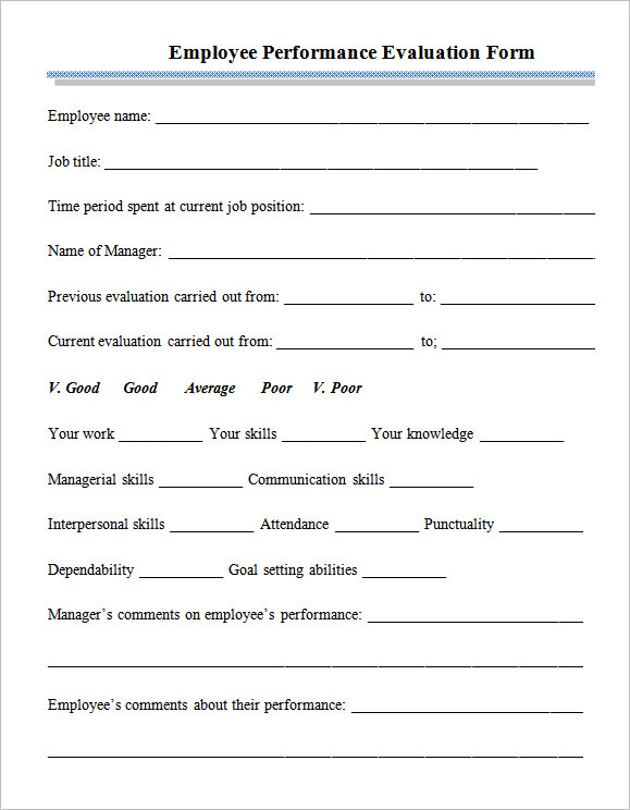 Sample Employee Performance Appraisal Form  Performance Appraisal Forms Samples