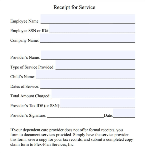 Employee Service Receipt Form