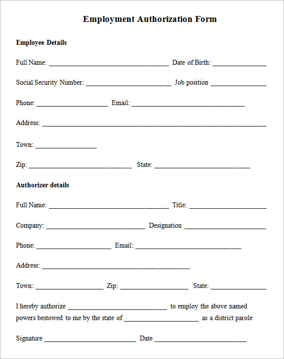 Sample Employment Authorization Form 4 Free Documents Download – Employee Details Form Sample