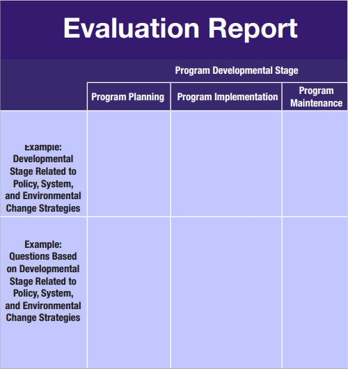 Evaluation Report Template  Monthly Status Report Template Word