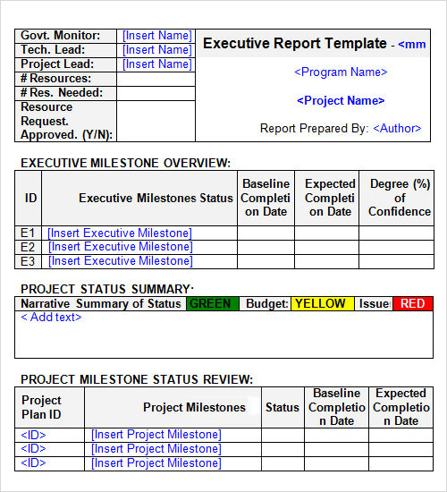 30 report templates sample templates for Executive summary project status report template