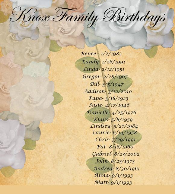 family birthday calendar template