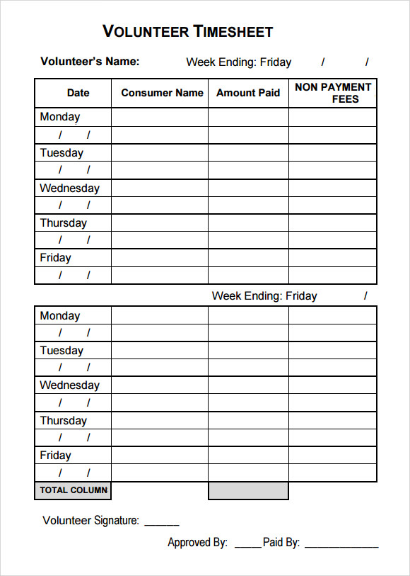 fillable volunteer timesheet template