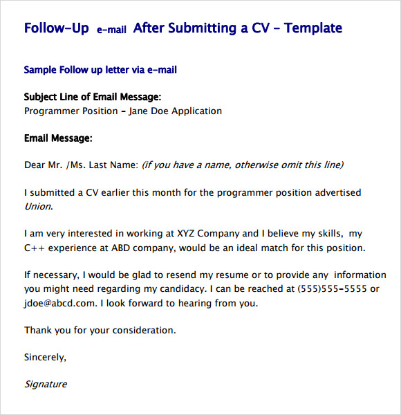 Sample Email Follow Up After Sending Resume