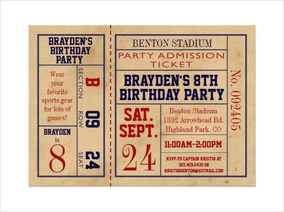 9 Sample Ticket Invitations PSD Vector EPS
