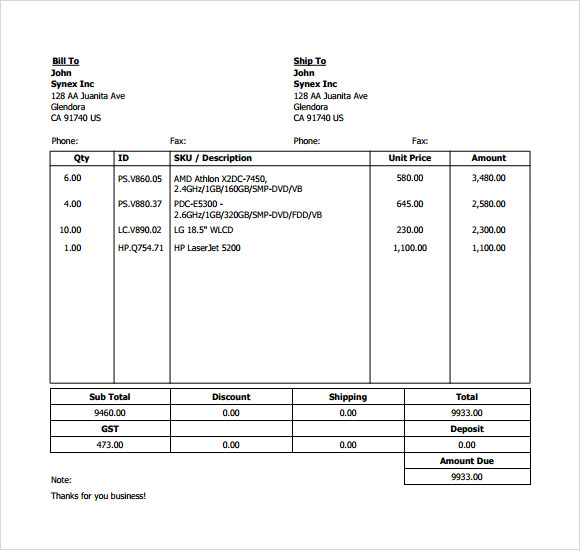 free billing invoice template download .