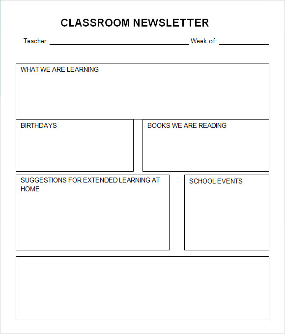 Sample Classroom Newsletter   Documemts In Pdf Word