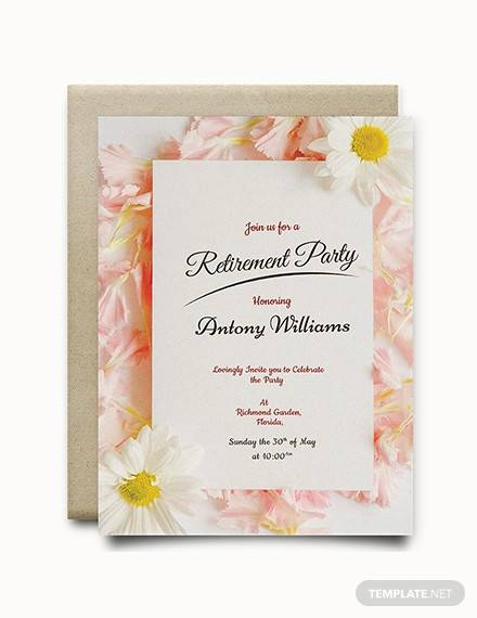 image about Printable Retirement Invitation referred to as Cost-free 17+ Retirement Celebration Invites within just Illustrator MS