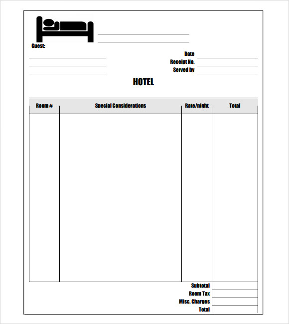 Sample Hotel Receipt Template 10 Free Download for PDF Word – Ms Word Receipt Template