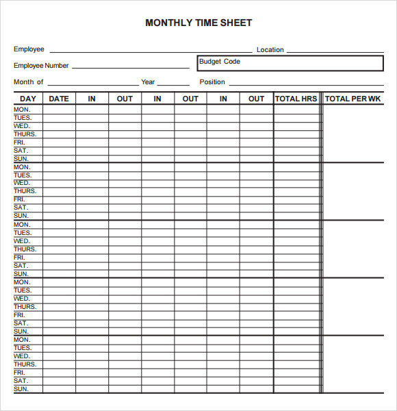 monthly timesheet template 9 free download for pdf word sample
