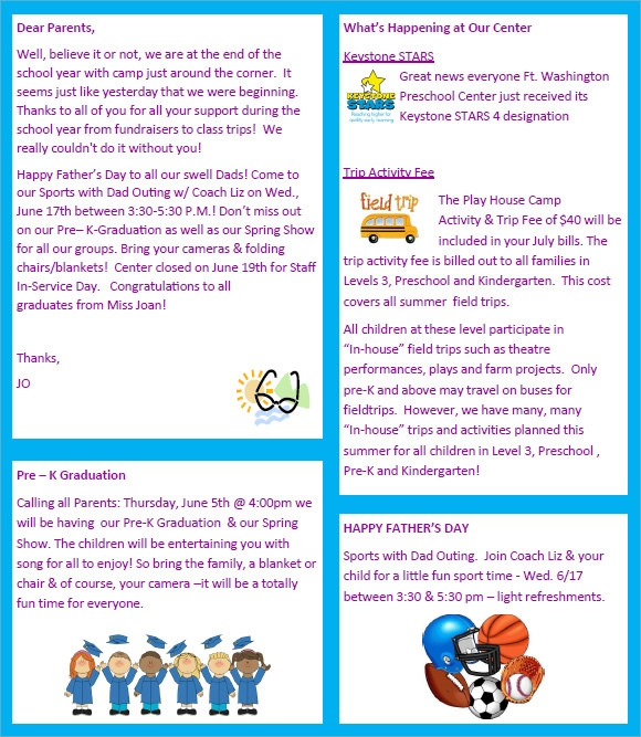 sample preschool newsletter
