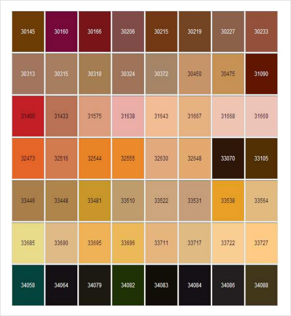Sample General Color Chart   Documents In Pdf