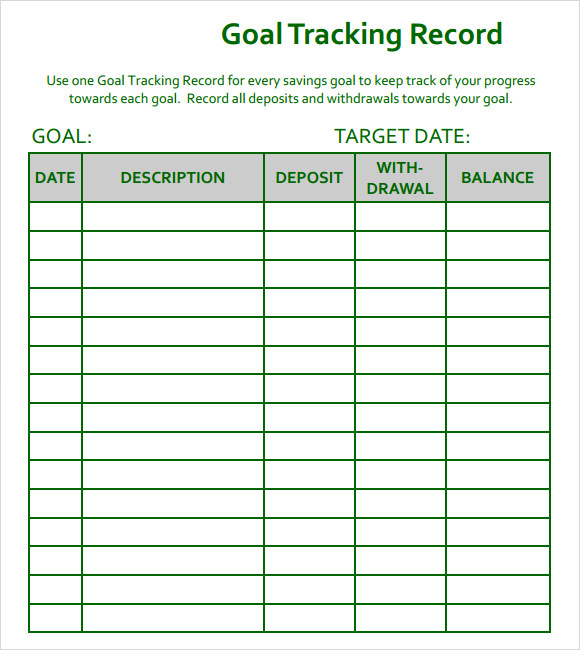 sample goal tracking 9 documents in pdf excel