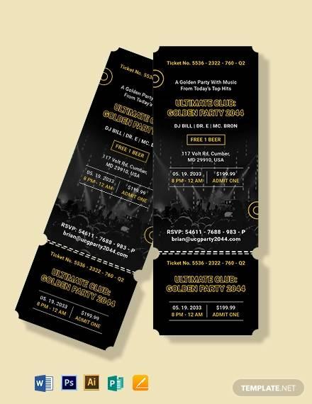 golden party ticket invitation