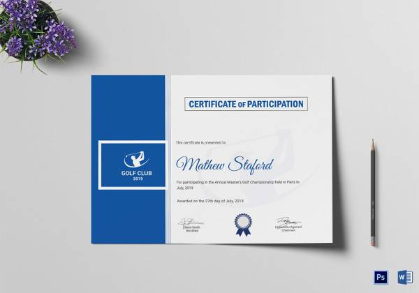 golf participation certificate template
