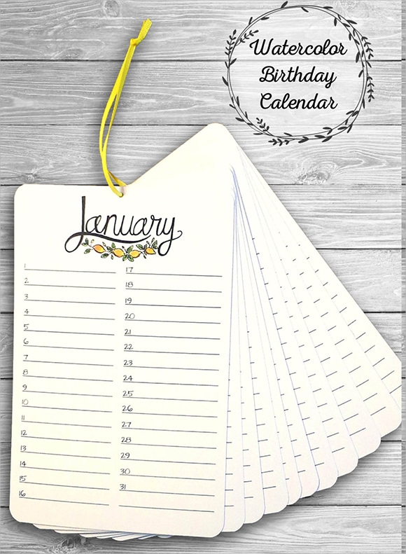 Sample Birthday Calendar Template   Documents In Pdf Word