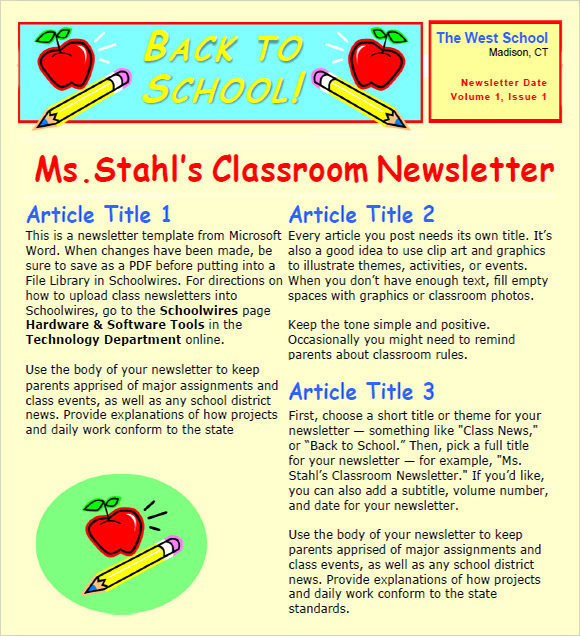 High School Classroom Newsletter Template  Example Of Newsletter Templates