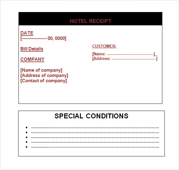 Hotel Receipt Template 9 Free Samples Examples Format – Sample Hotel Receipt Template