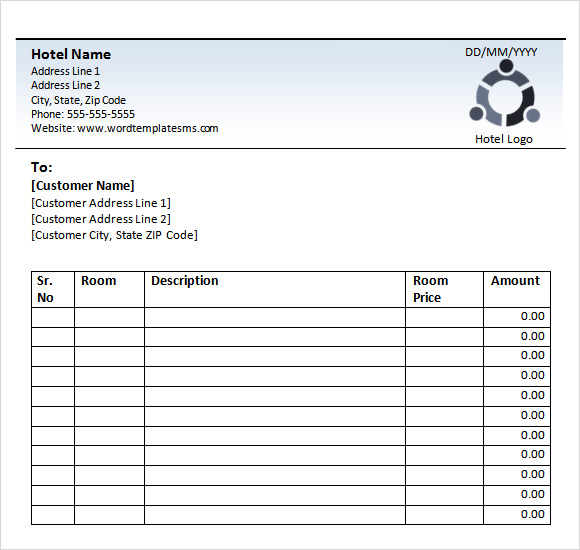 Sample Hotel Receipt Template - Receipt template word document