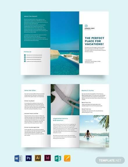 hotel resort tri fold brochure template