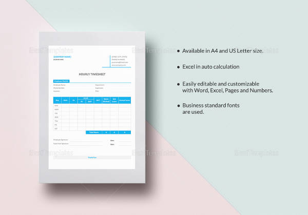 hourly timesheet template