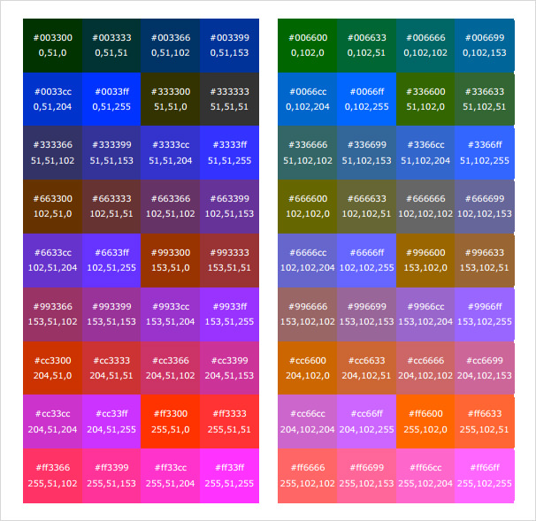 High Quality Html RGB Color Code Chart